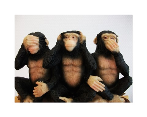 Framed Monkeys - See No Evil, Hear No Evil, Speak No Evil Print