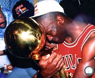 Michael Jordan Game 5 of the 1991 NBA Finals with Championship Trophy  Fine Art Print