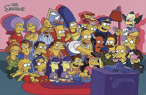 The Simpsons Cast On Couch Wall Poster By Unknown At