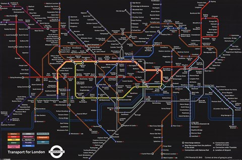 London Underground Black Map Wall Poster By Unknown At