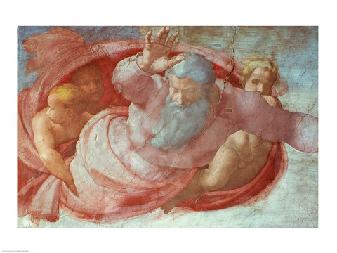 Framed Sistine Chapel: God Dividing the Waters and Earth Print