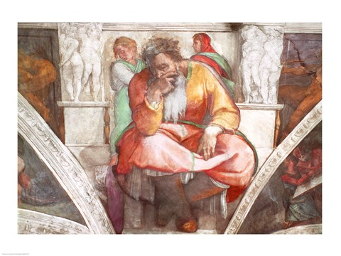 Framed Sistine Chapel Ceiling: The Prophet Jeremiah Print