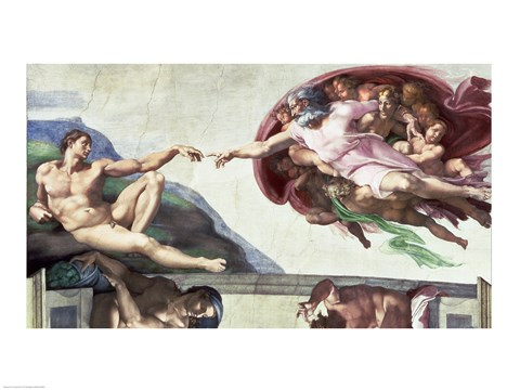 Framed Sistine Chapel Ceiling (1508-12): The Creation of Adam, 1511-12 Print