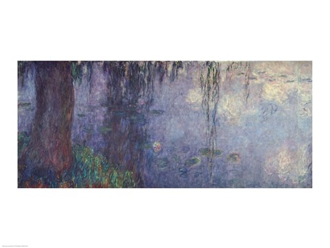Framed Waterlilies: Morning with Weeping Willows, detail of the left section, 1914-18 Print