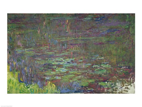Framed Waterlilies at Sunset, detail from the right hand side, 1915-26 Print