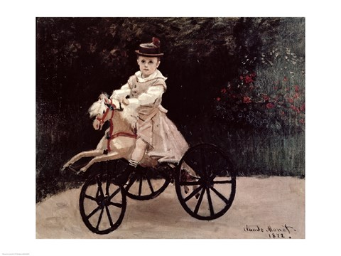Framed Jean Monet on his Hobby Horse, 1872 Print
