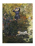 Camille and Jean in the Garden at Argenteuil  Fine Art Print