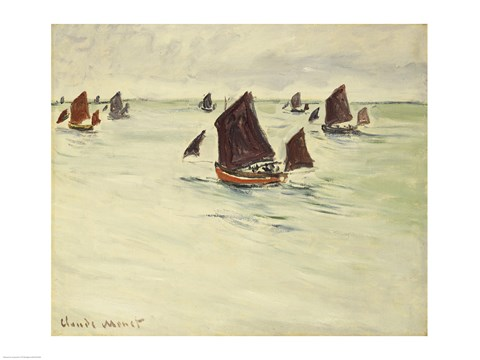 Framed Fishing Boats on the Large de Pourville, 1882 Print