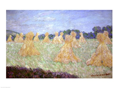 Framed Haystacks, The young Ladies of Giverny, Sun Effec Print