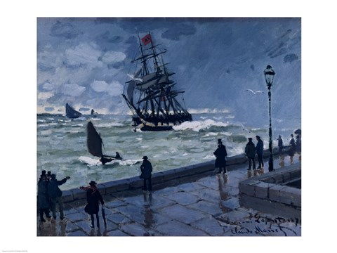 Framed Jetty at Le Havre, Bad Weather, 1870 Print
