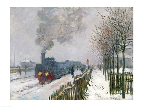 Framed Train in the Snow or The Locomotive, 1875 Print