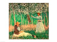 In the Woods at Giverny: Blanche Hoschede at her easel with Suzanne Hoschede reading, 1887 Art