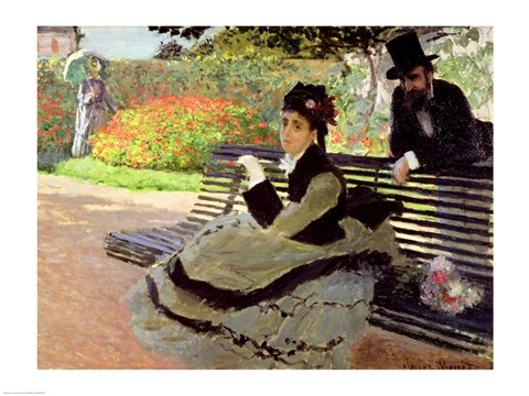 Framed Madame Monet on a Garden Bench Print