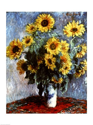Still Life With Sunflowers 1880 Fine Art Print By Claude Monet At Fulcrumgallery Com