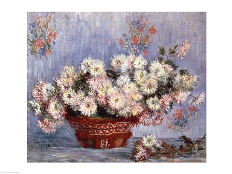 Framed Basket of Chrysanthemums, c.1878 Print