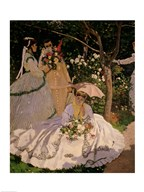 Women in the Garden, detail of a Seated Woman with a Parasol, 1867  Fine Art Print