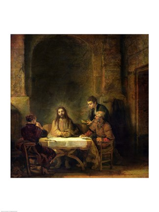 Framed Supper at Emmaus, 1648 Print