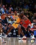Michael Jordan & Kobe Bryant 1998 Action  Fine Art Print
