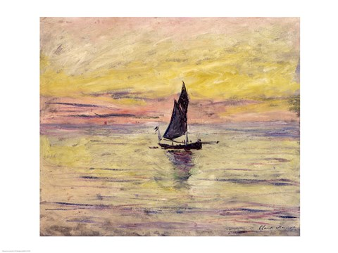 Framed Sailing Boat, Evening Effect, 1885 Print
