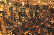 New York - Manhattan at Night Golden  Wall Poster
