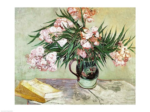 Framed Oleanders and Books, 1888 Print