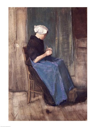 Framed Young Scheveningen Woman Knitting, Facing Right Print