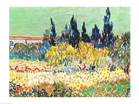 Framed Garden at Arles, detail of the cypress trees Print