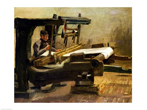 Framed Weaver at the Loom, Facing Right, 1884 Print