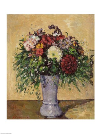 Framed Bouquet of Flowers in a Vase, c.1877 Print