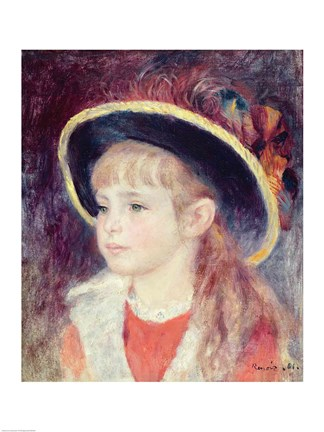 Framed Portrait of a Young Girl in a Blue Hat, 1881 Print