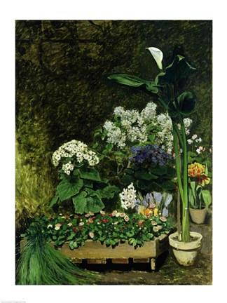 Framed Flowers in a Greenhouse, 1864 Print