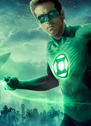 Framed Green Lantern - Light up Print
