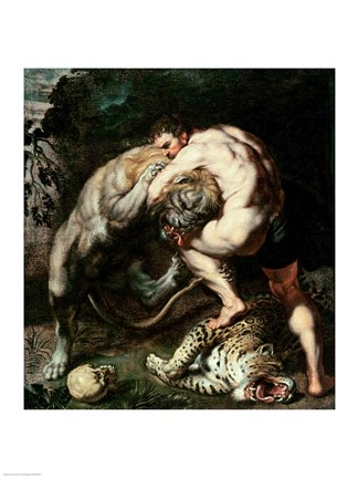 Hercules Fighting The Nemean Lion Fine Art Print By Peter