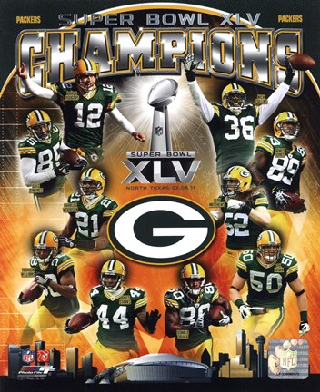 Framed Green Bay Packers Super Bowl XLV Champions Composite (Vertical) Print