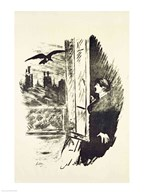Illustration for &#39;The Raven&#39;, by Edgar Allen Poe, 1875