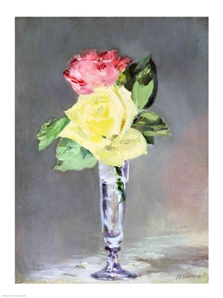Framed Roses in a Champagne Glass, c.1882 Print