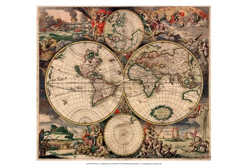 Framed World Map 1689 Print