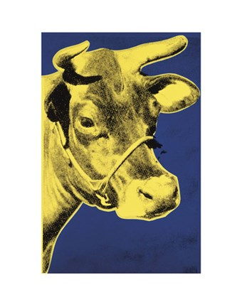 Framed Cow, 1971 (blue & yellow) Print