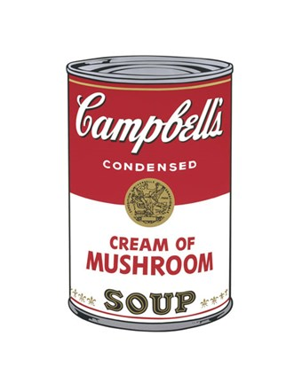 Framed Campbell's Soup I: Cream of Mushroom, 1968 Print