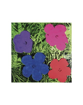 Framed Flowers, c. 1964 (1 purple, 1 blue, 1 pink, 1 red) Print