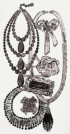 Framed Necklaces and Pins, c.1959 Print