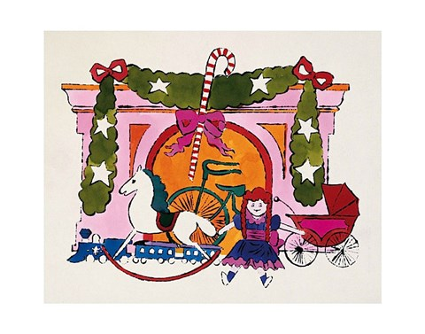 Framed Christmas Card, 1958 Print