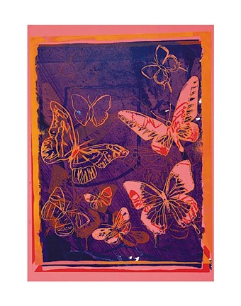 Framed Vanishing Animals [Butterflies], 1986 (peach on navy) Print