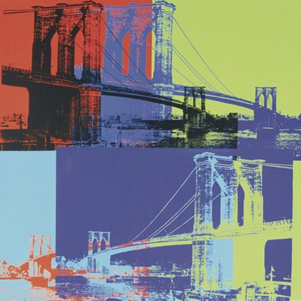 Framed Brooklyn Bridge, 1983 (orange, blue, lime) Print