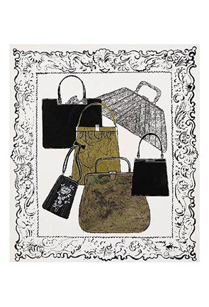 Framed Six Handbags in a Frame, c.1958 Print