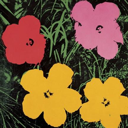 Framed Flowers, 1964  (1 red, 1 pink, 2 yellow) Print