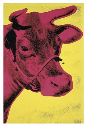 Framed Cow, 1966 (yellow & pink) Print