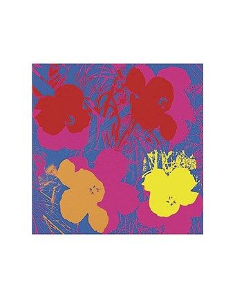 Framed Flowers, 1970 (red, yellow, orange on blue) Print