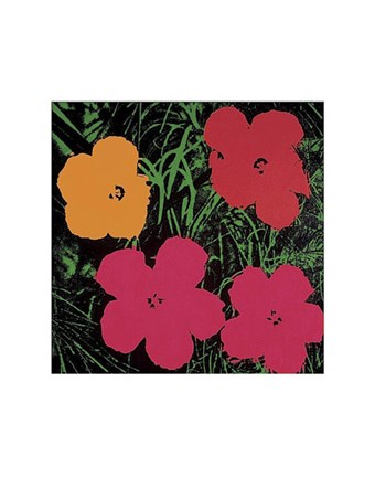 Framed Flowers, 1964 (1 red, 1 yellow, 2 pink) Print