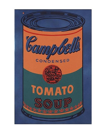 Framed Colored Campbell's Soup Can, 1965 (blue & orange) Print